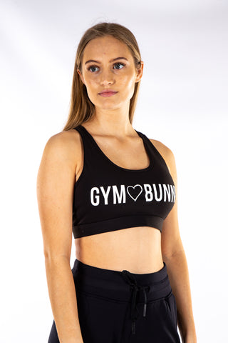 Gym Bunny padded bra top with Cell pocket- Black