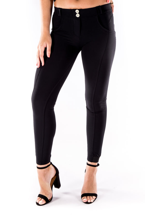 Low waist hipster -Butt lifting Jeggings -  Silky soft Spandex Black