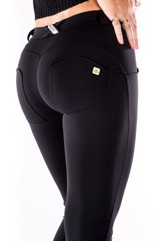Image of Low waist hipster -Butt lifting Jeggings -  Silky soft Spandex Black