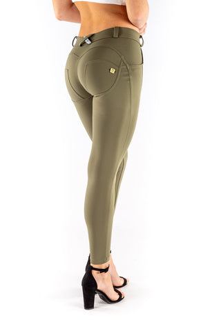 Low waist hipster -Butt lifting Jeggings -  Silky soft Spandex Olive