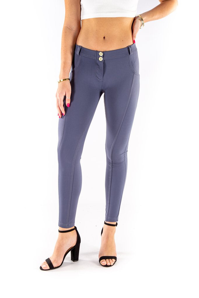Low waist hipster -Butt lifting Jeggings -  Silky soft Spandex Dove Grey Blue
