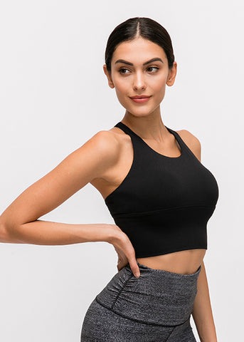 Image of Lux long bra top- black