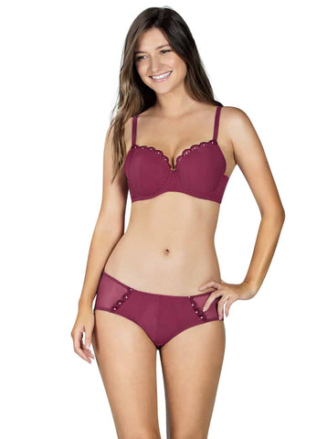 Image of PARIS PLUNGE PADDED BRA DEEP CHERRY