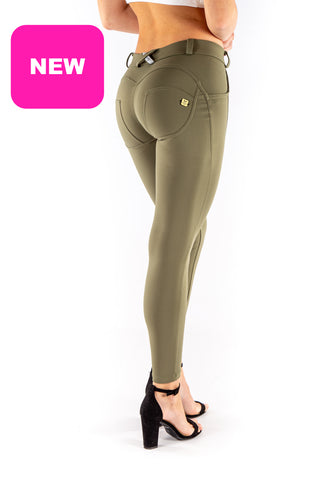 Image of Low waist hipster -Butt lifting Jeggings -  Silky soft Spandex Olive