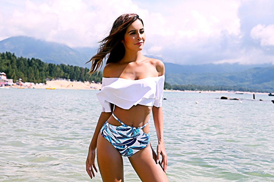 Image of Two Piece Swimsuit High Waisted Off Shoulder Ruffled Bikini Set- Tropical
