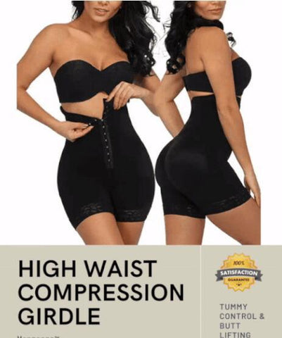 'Quick-fix' High waist mid thigh tummy girdle body shaper
