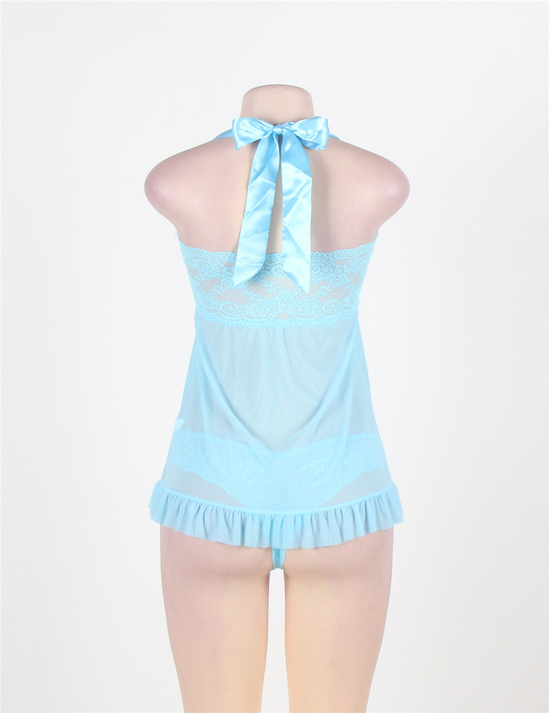 Fly-away Babydoll-Light Blue Bow