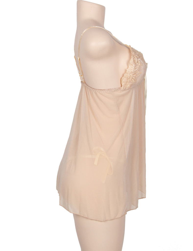 Apricot Elegant Babydoll With G-string- 2pcs