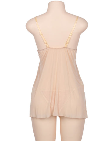Image of Apricot Elegant Babydoll With G-string- 2pcs