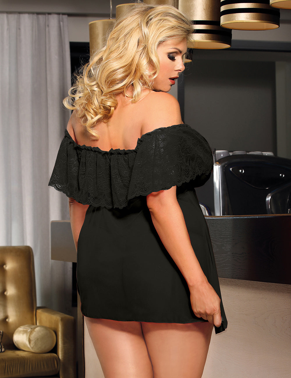 Image of Black Off-Shoulder Lace Sexy Babydoll