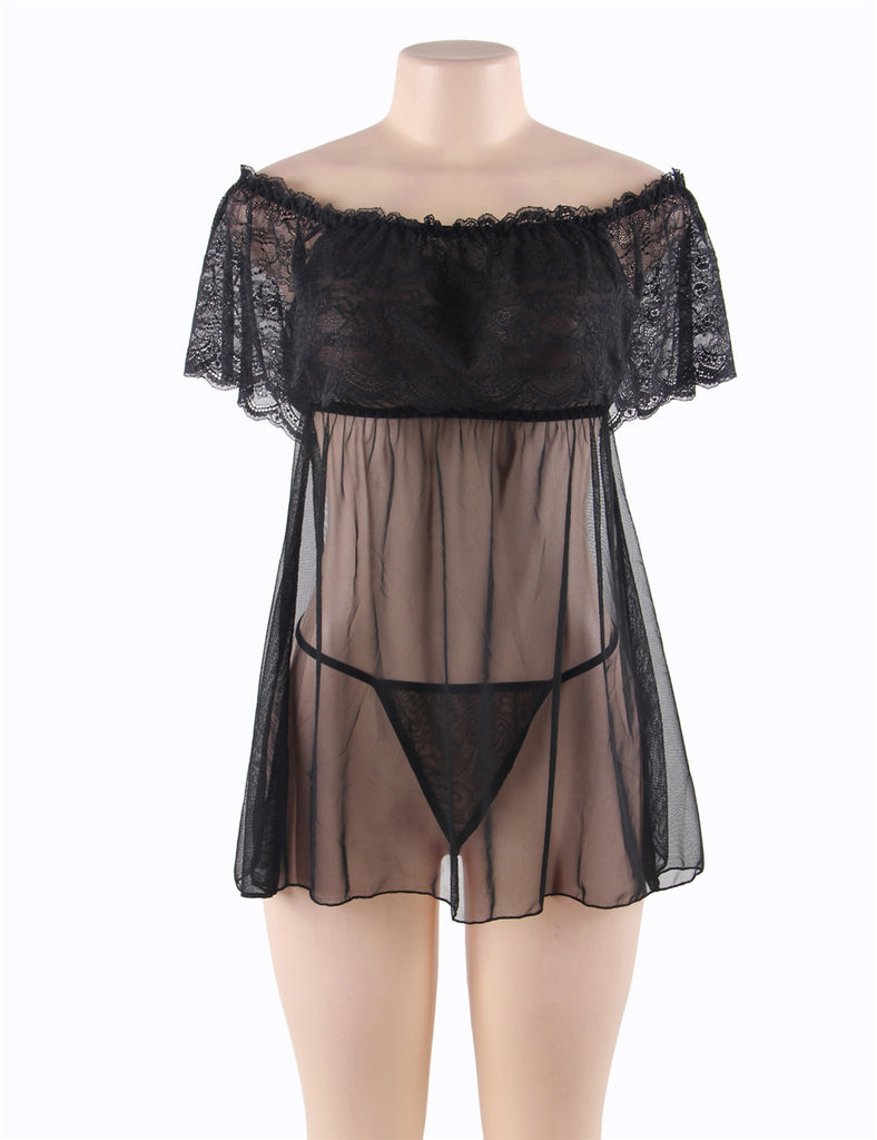 Black Off-Shoulder Lace Sexy Babydoll
