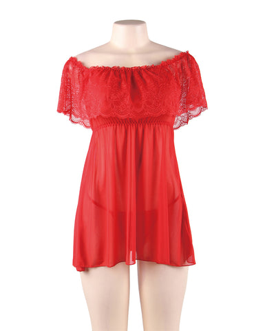 Image of Red Off-Shoulder Lace Sexy Babydoll