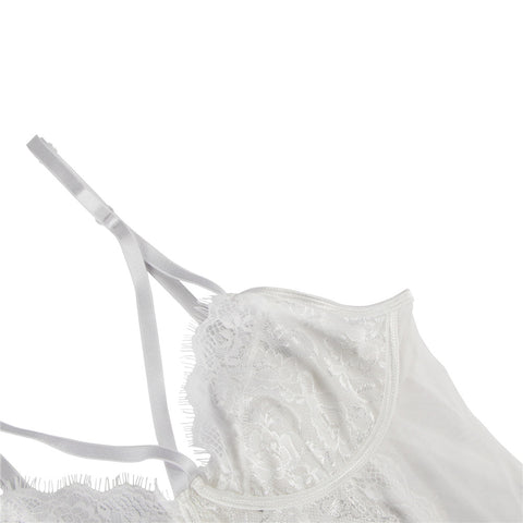 White Eyelash Lace  Bodysuit