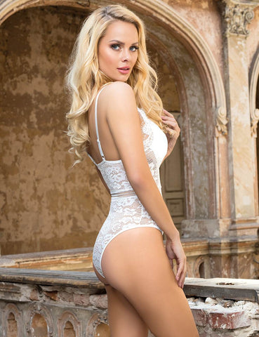 Image of White Plunge Lace Bodysuit