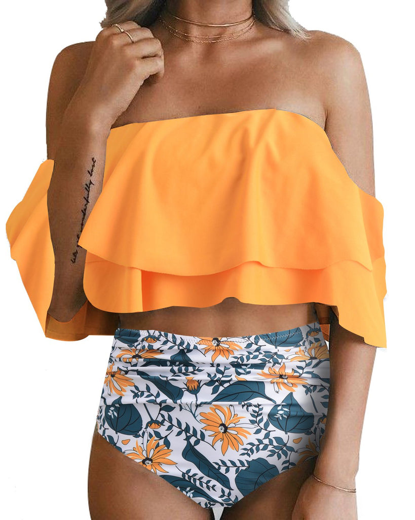 CLEARANCE SALE NO RETURNS-Retro Range-Two Piece Swimsuit High Waisted Off Shoulder Ruffled Bikini Set- Sun Flower