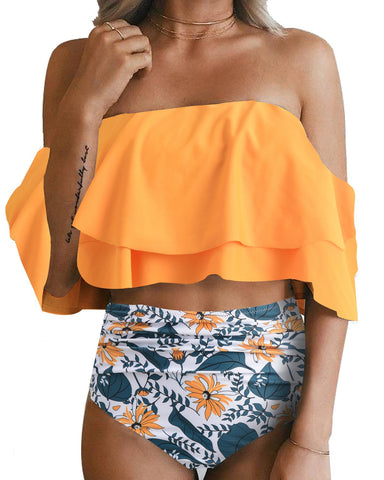 Retro Range-Two Piece Swimsuit High Waisted Off Shoulder Ruffled Bikini Set- Sun Flower