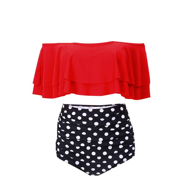 Two Piece Swimsuit High Waisted Off Shoulder Ruffled Bikini Set- Polka dots