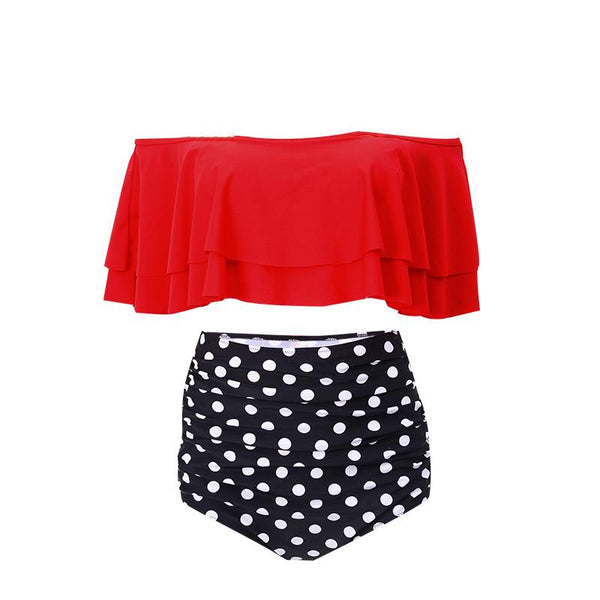 Retro range -Two Piece Swimsuit High Waisted Off Shoulder Ruffled Bikini Set- Polka dots