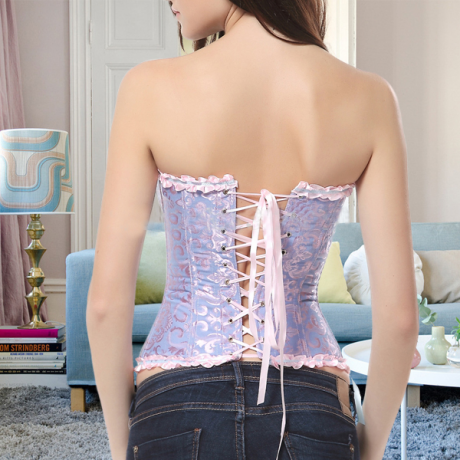 Image of Baby Blue Lace Up Corset Waist Trainer