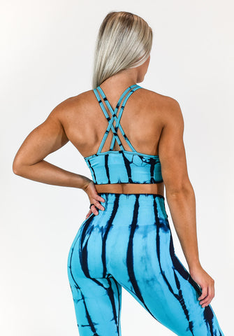 Gym Bunny Tie dye padded bra top- blue