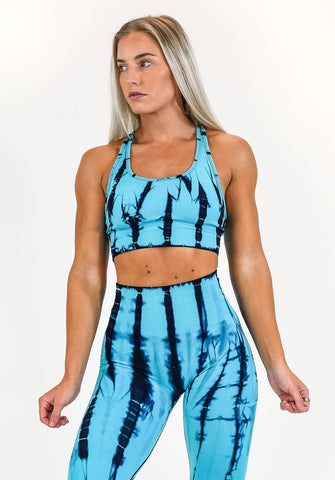 Image of Gym Bunny Tie dye padded bra top- blue