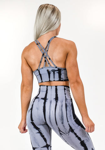Gym Bunny Tie dye padded bra top- Grey