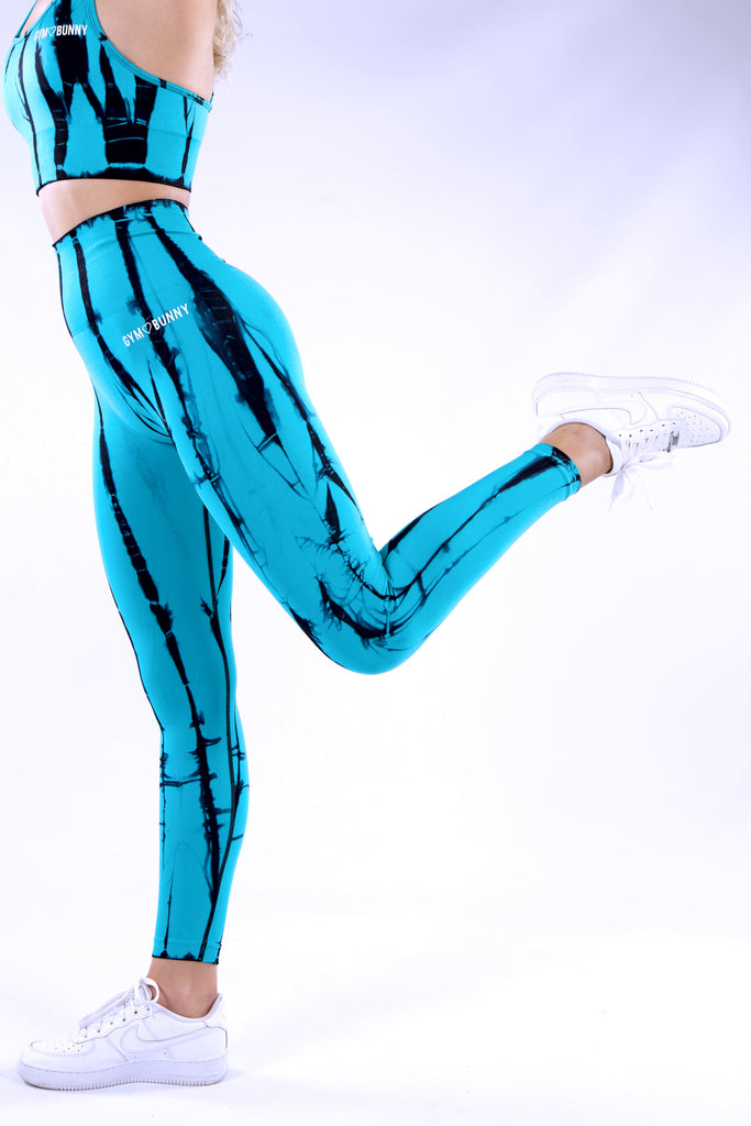 Gymbunny Tie Dye Seamless Compression Leggings - Blue