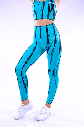 Image of Gymbunny Tie Dye Seamless Compression Leggings - Blue