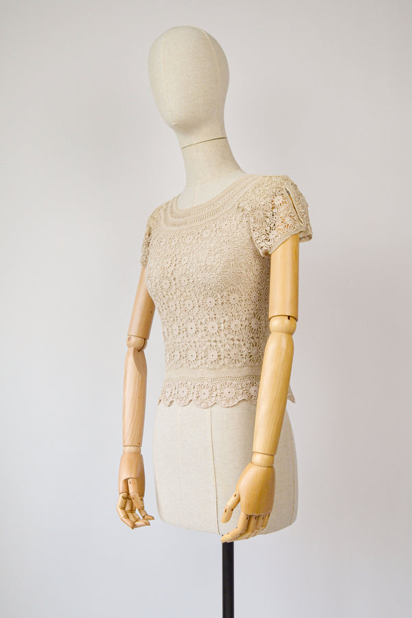 1910s Vintage antique Irish crochet lace blouse - Size  S