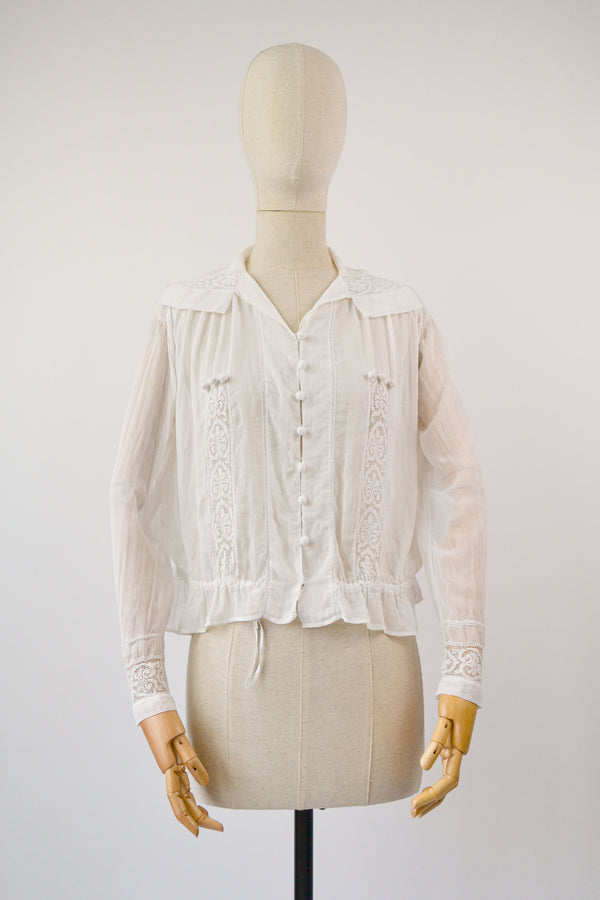 1910s Vintage antique ivory cotton blouse - Size M