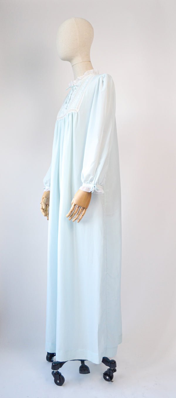 1960s Vintage Christian Dior baby bleu embroidered nightgown - Size M