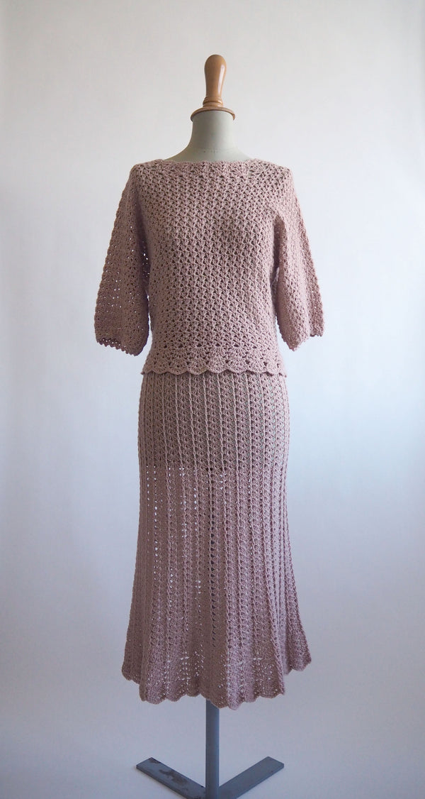 1960s vintage hand-crocheted blush pink set - Size M/L