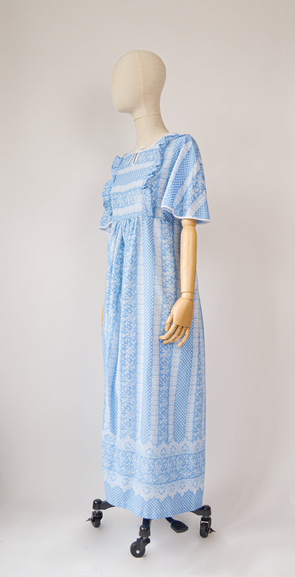 1970s Vintage cotton floral blue dress - Size M