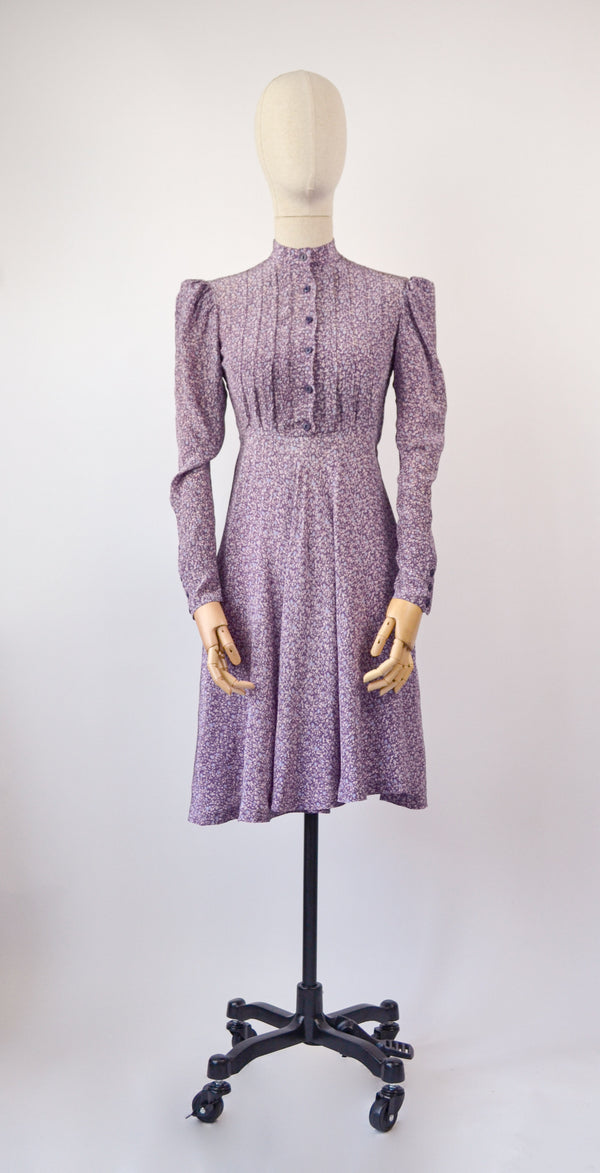 1970s Vintage Cacharel floral lilac printed dress - Size XS