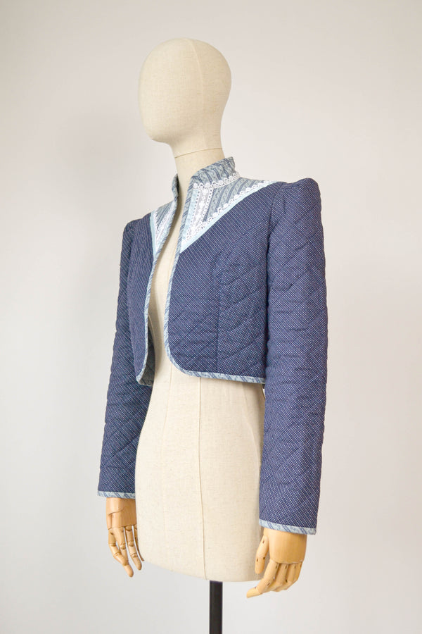 1970s Vintage quilted Gunne Sax style cropped jacket - Size S