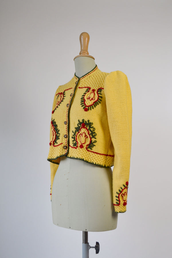 1980s Vintage traditional cropped Austrian folk  yellow cardigan - Size S