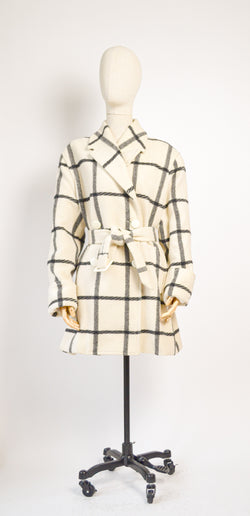 1980s Vintage windowpane check winter coat - Size L