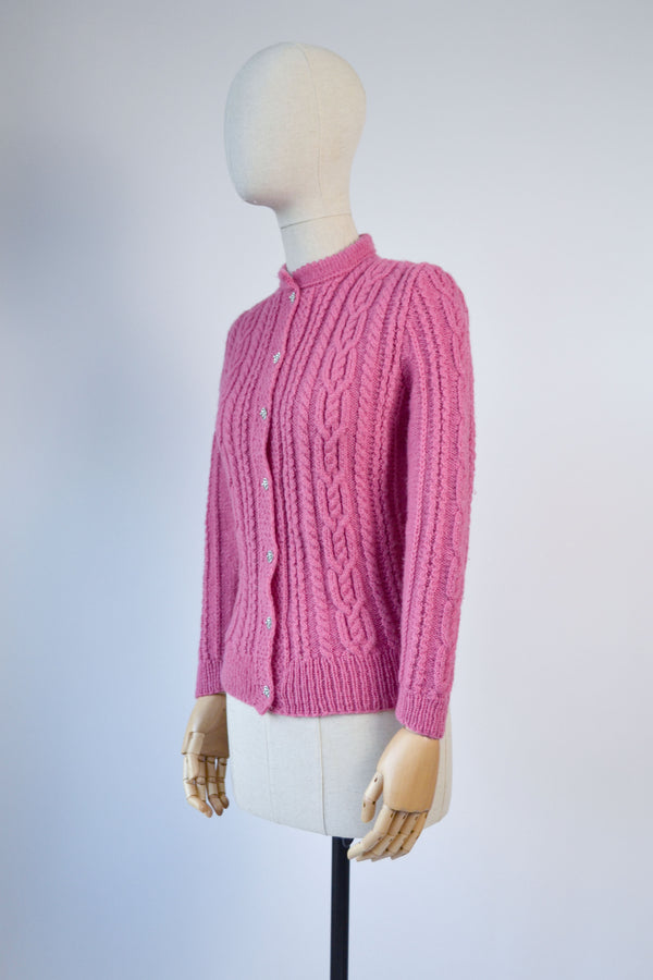 1980s Vintage pink traditional Austrian folk cardigan - Size S