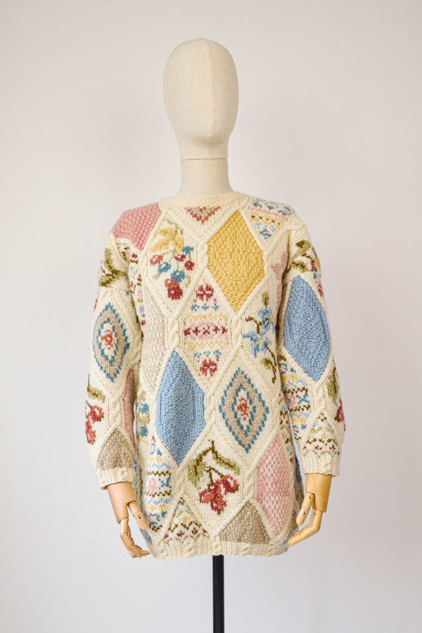 1990s Vintage Laura Ashley hand knitted patchwork floral jumper - Size M