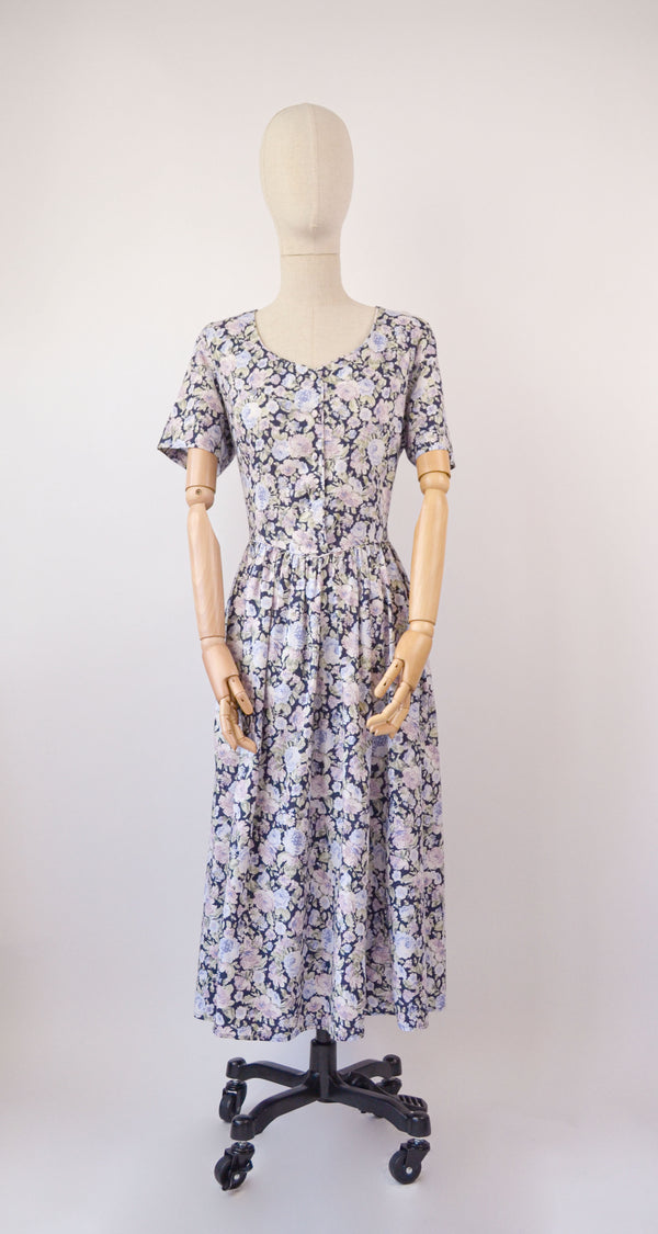 1980s Vintage Laura Ashley floral summer dress- Size L