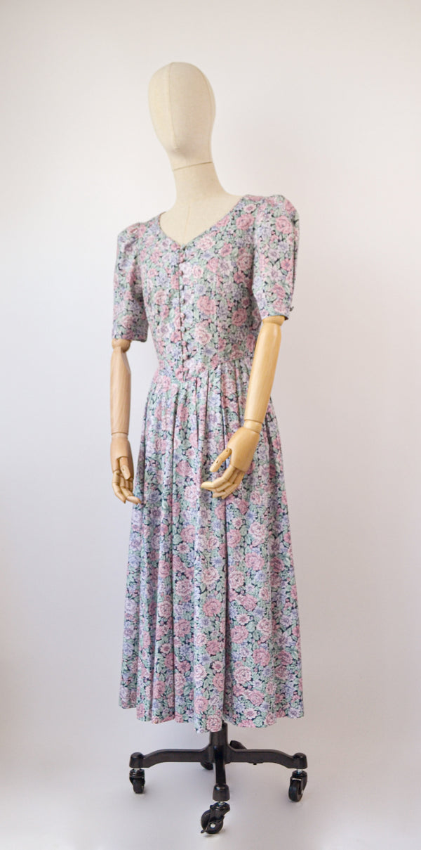 1980s Vintage Laura Ashley navy floral summer dress- Size M