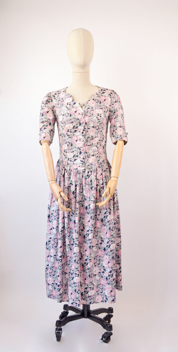 1980s Vintage Laura Ashley peonies floral print dress - Size S