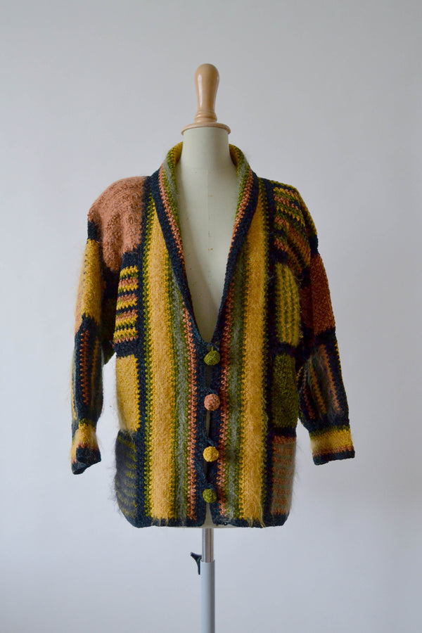 1980s RARE Vintage hand knitted patchwork jacket from Anny Blatt - Size M/L