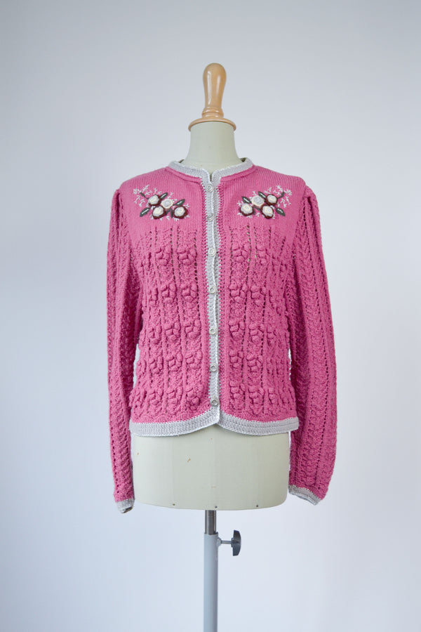 1980s RARE vintage Austrian hand knitted old pink embroidered cardigan - Size M