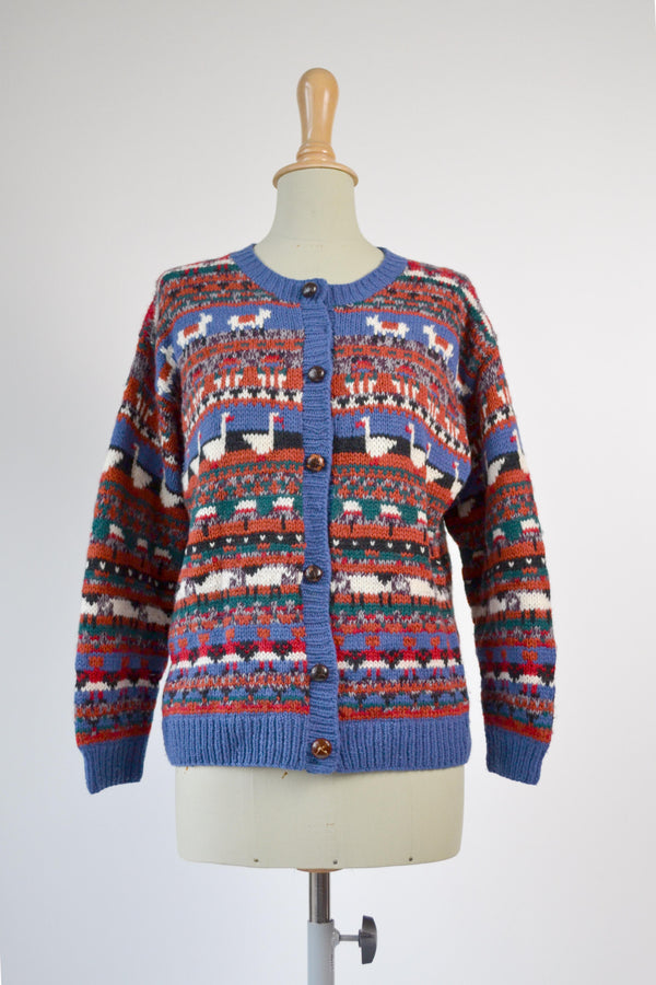 1980s Vintage adoral scenic cardigan - Size M