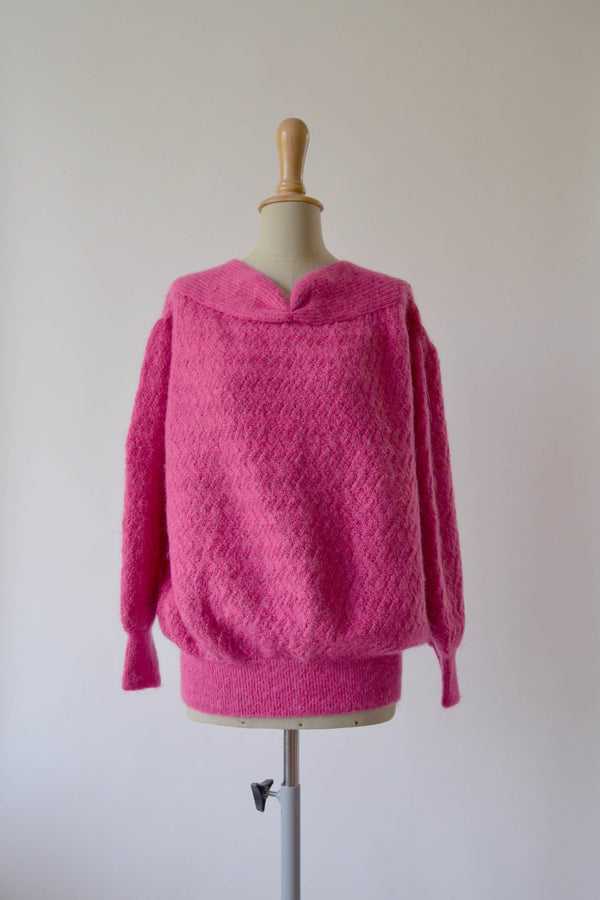 1980s Vintage Hand knitted Mohair fuchsia jumper - Size L/XL