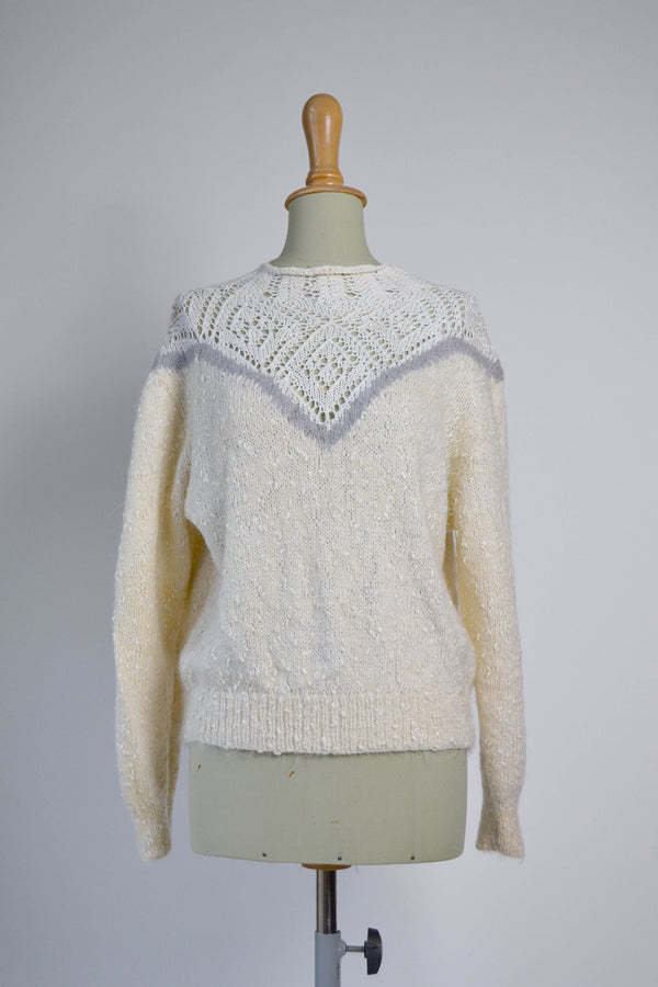 1980s Vintage ivory and grey mohair jumper with white crochet detail - Size M