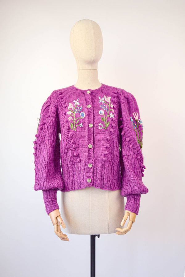 1980s Vintage Mutton sleeves Magenta Austrian hand knitted cardigan - Size S/M