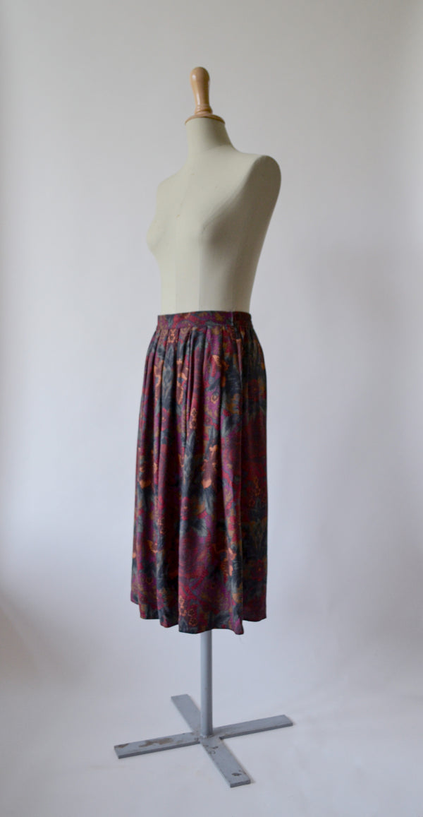 1980s Vintage colourful paisley print skirt- Size XL