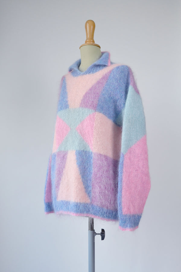 1980s RARE Vintage abstract pattern hand knitted sweater - Size M